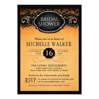 Orange & Black Elegant Bridal Show Custom Invitation