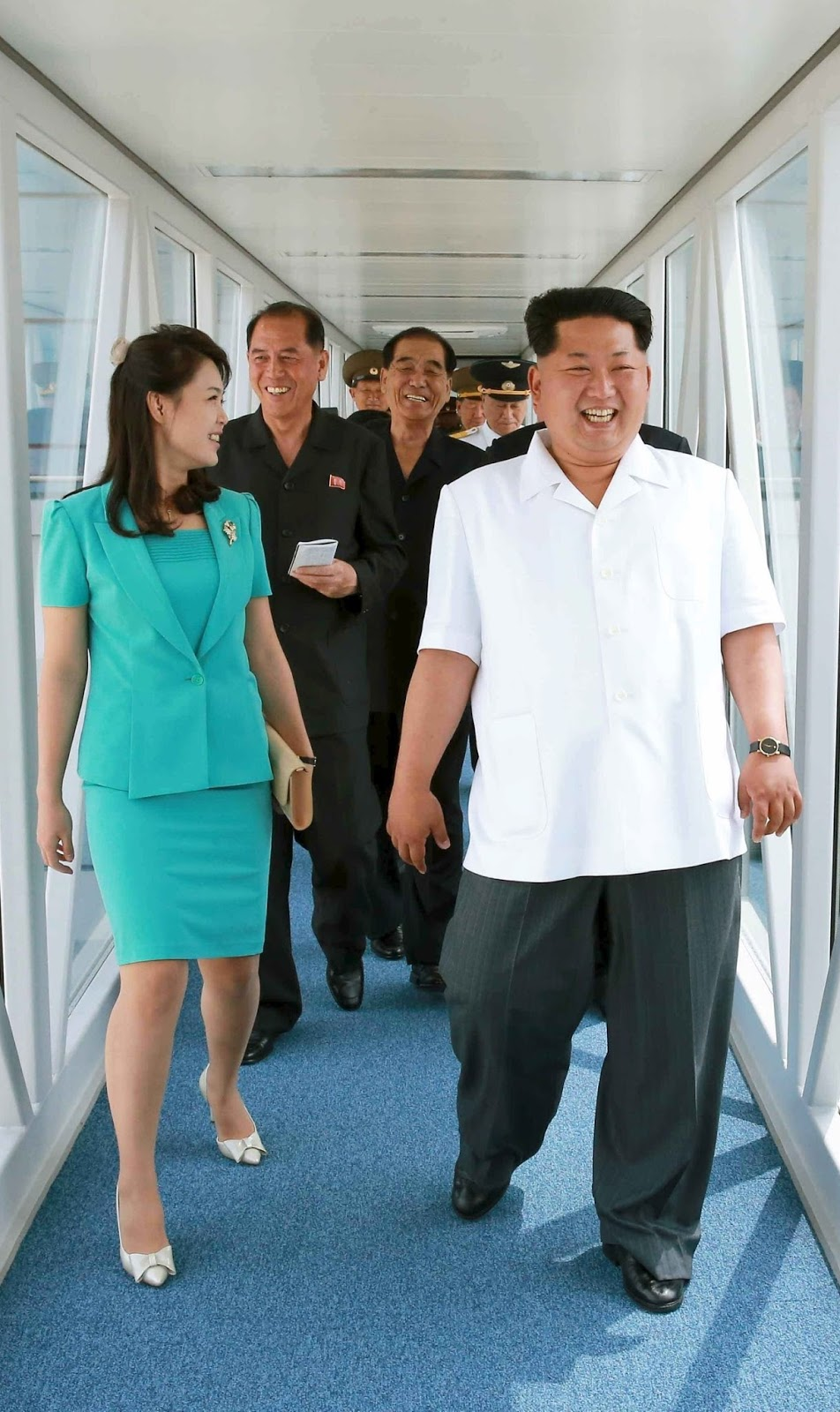 North Korea Kim Jong Un and his wife at the new international airport in Pyongyang.