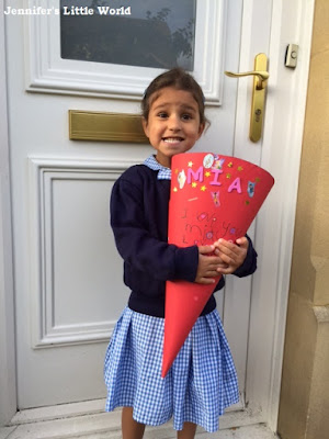 Youngest child's first day at school