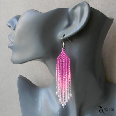 Розовые серьги из бисера купить авторские серьги длинные серьги купить интернет магазин