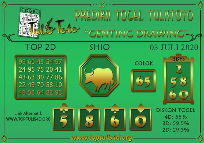 Prediksi Togel GENTING DRAWING TULISTOTO 03 JULI 2020