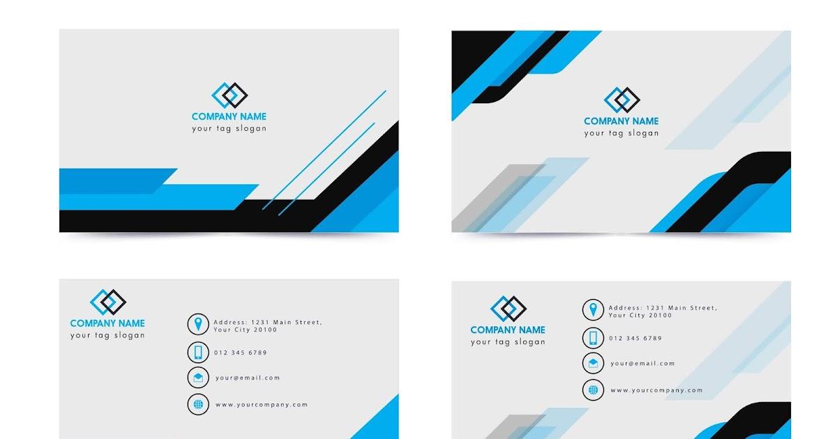 name card template modern simple blue white decor free