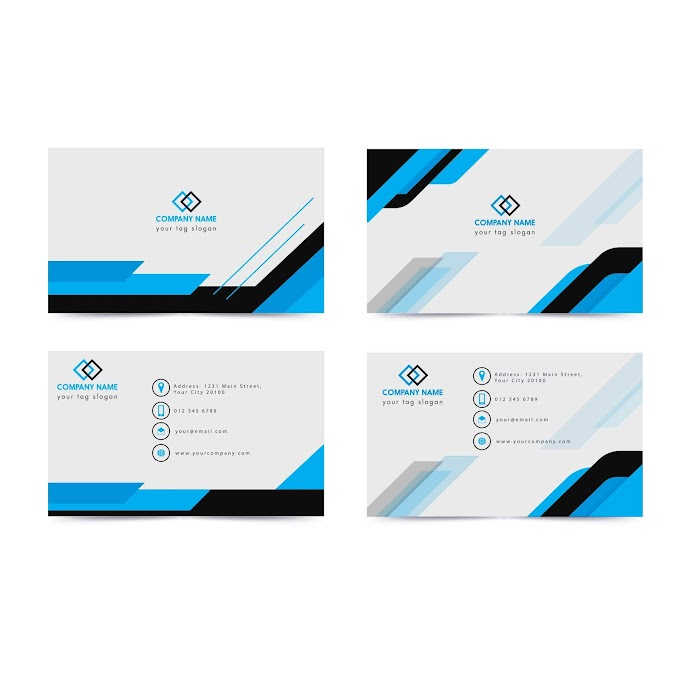 Name card template modern simple blue white decor Free vector