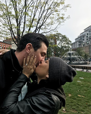 Actress Janel Parrish engaged to Chris Long after perfect Toronto, Canada park proposal with cushion diamond ring