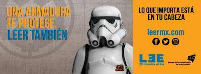 Meme de humor sobre la lectura con stormtrooper