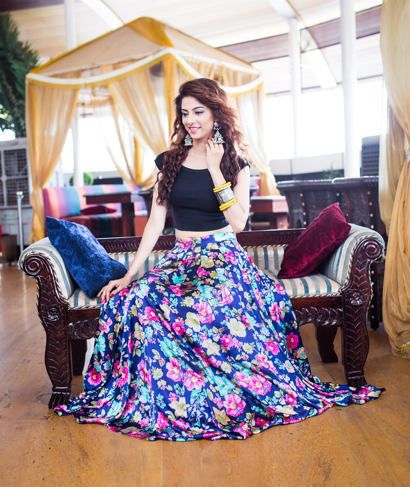 An Indian Decor Blog The Charming: Style Diva : Floral Flared Long Skirt