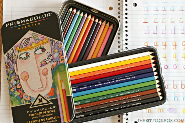 Use colored pencils like Prismacolor Premier colored pencils with a soft core to address handwriting needs.