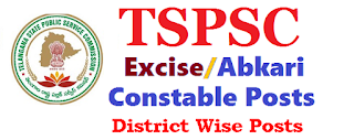 TSPSC Excise Constable District Wise Posts Vacancies
