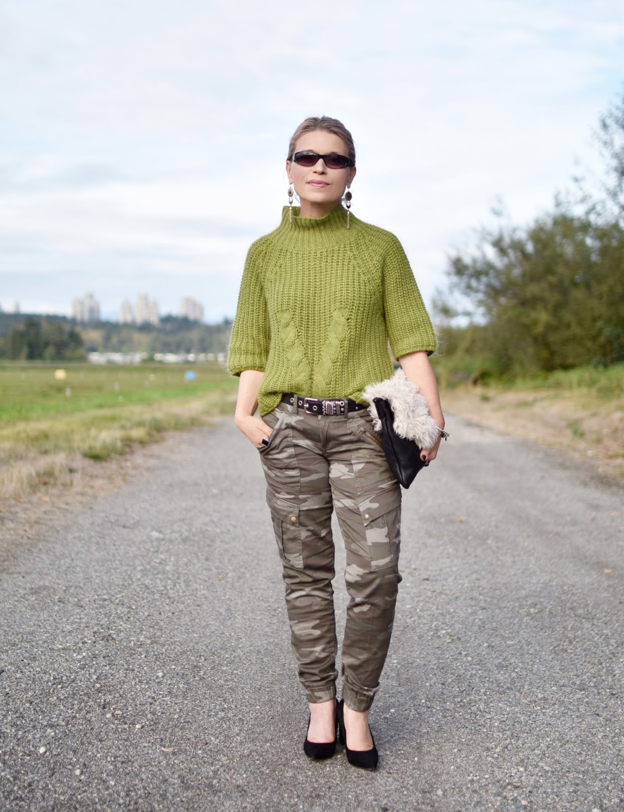 Monika Faulkner outfit inspiration - green mohair sweater, camouflage trousers, Marc Fisher block-heeled pumps