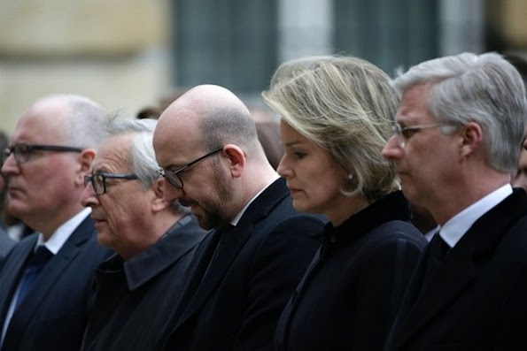diamond earrings, diamond rings, diamond tiara, King Philippe of Belgium and Queen Mathilde of Belgium hold a minute of silence during a homage ceremony at Palace of the Nation in Brussels