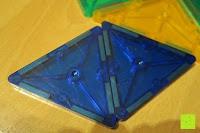 schräg: Playbees 100 Teile Magnetische Bausteine Set für 2D und 3D Form Konstruktionen, Regenbogenfarben Magnetspielzeug, Baukasten Magnetspiel, Magnetbausteine