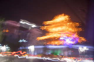 Abstract view of a golden pagoda in downtown Guilin, China