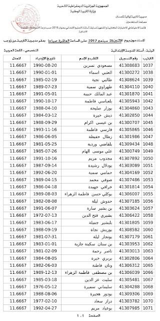 استدعاء قائمة اضافية من استاذة اللغة العربية الطور الابتدائي 2016  بمديرية التربية لولاية تلمسان