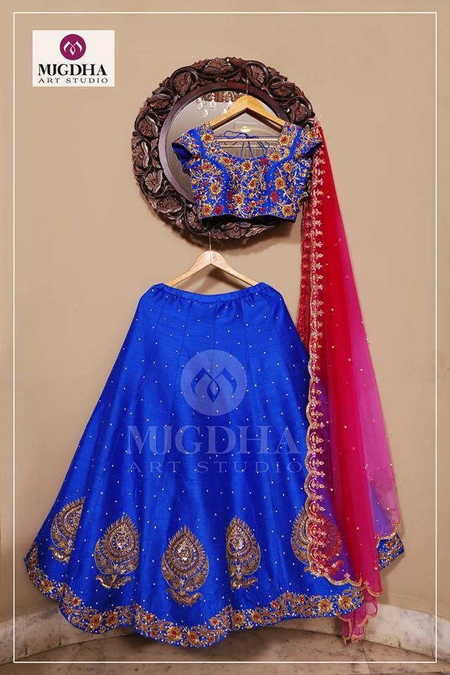Heavy Zardosi Work Half Saree by Mugdha