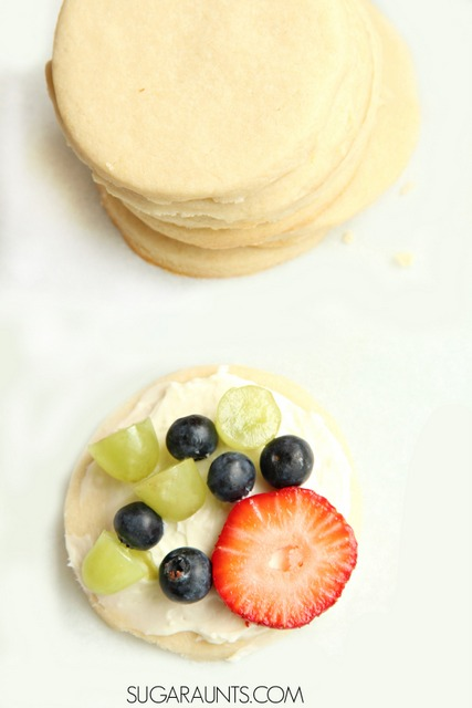 Make a mini fruit pizza with sugar cookies.  SO good!
