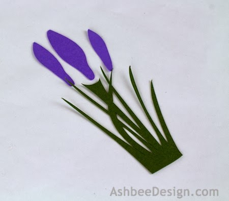 Each Grouping Has  Crocus Bud The Thee Larger Crocus Buds Are Each Made Up Of  Purple Petals Small Medium And Large The Tiniest Has Only