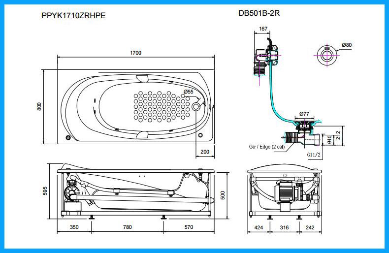 Bồn tắm nhựa không tay vịn DB501R-2B
