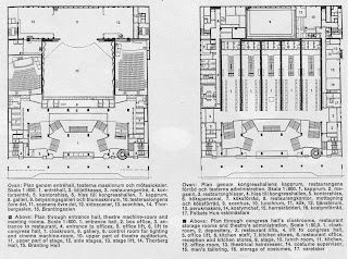 plans of ground floor and first floor, Folkets hus, Stockholm - Sven Markelius