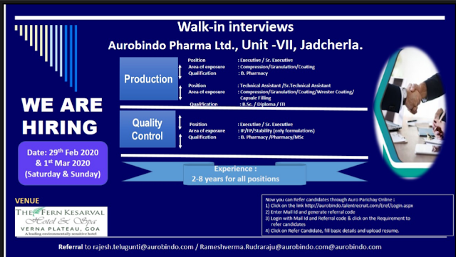 Aurobindo Pharma Walk in Drive- Production/ QC/ Packing  On 29th Feb & March 1st  @ Hyderabad, Goa