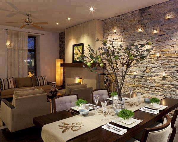 Stone Living Rooms and dining room Design 2016