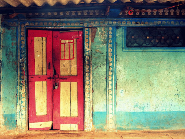 Colourful door. Locked. Purushwadi. Maharashtra. India