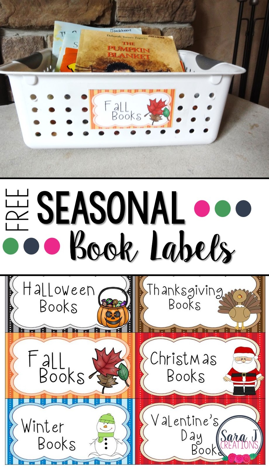 Free printable book labels!  Perfect for the classroom or home to change out books for each season and holiday.