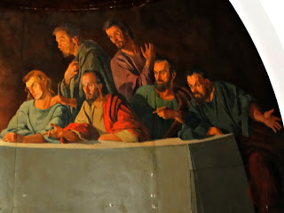 Apóstolos à Esquerda de Jesus na Santa Ceia da Capilla Hotel de Villavicencio