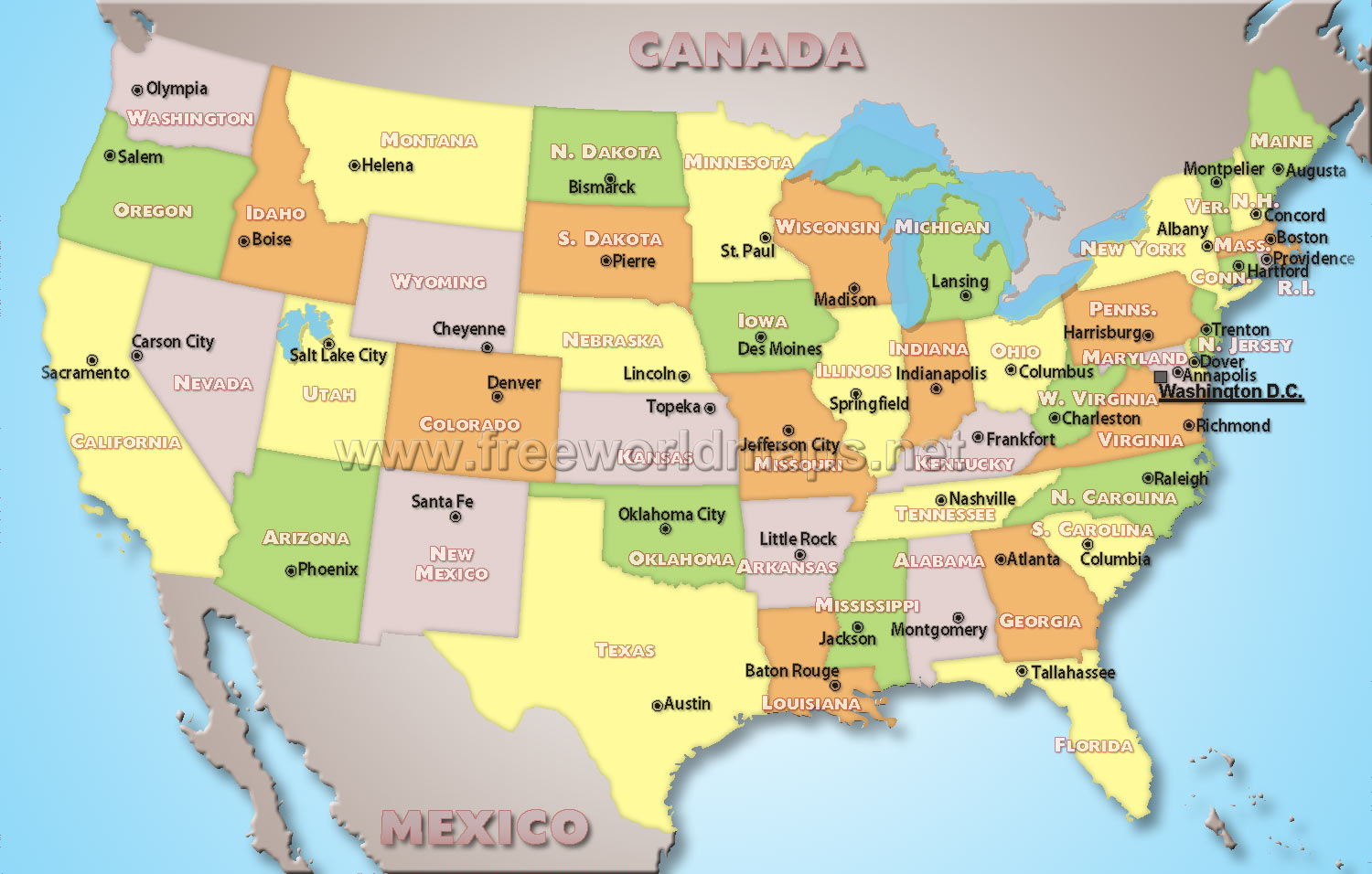 Map of us states only Maps of the United States Printable States and Capitals MapUnited
