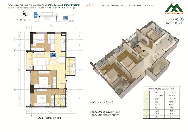 Thiết kế căn hộ 03 - dt 80m Xuân Mai Riverside