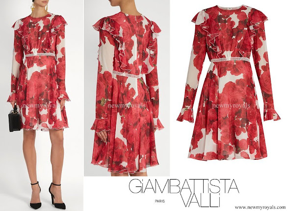 Princess Marie wore Giambattista Valli Rose-print ruffled silk-georgette Dress