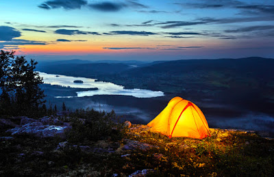 Rent camping gear in Reykjavik and enjoy a sunset mountain vista like this one