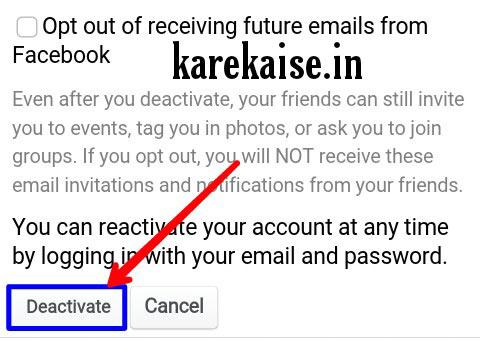 Facebook id ko deactivate kaise kare.