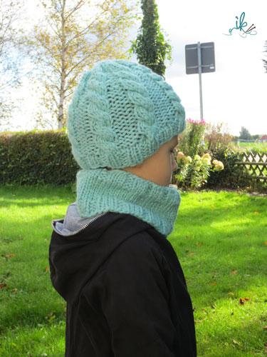 Kinder Zopfmütze mit Stirnband oder Loop stricken