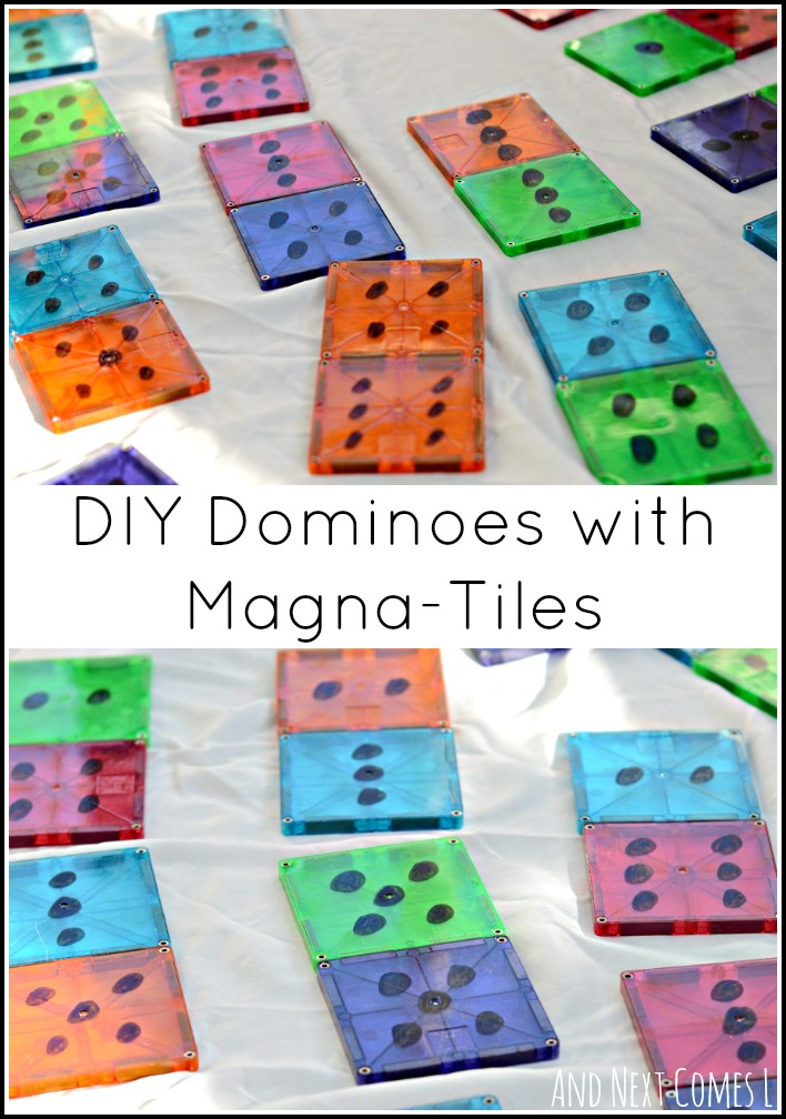 Turn your Magna-Tiles into dominoes to encourage math and number learning for toddlers and preschoolers from And Next Comes L