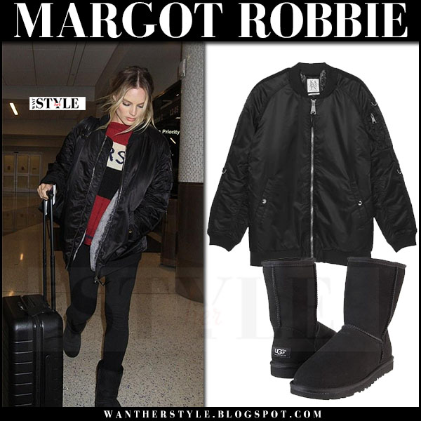 Margot Robbie in black satin bomber jacket zoe karssen and black suede boots ugg what she wore