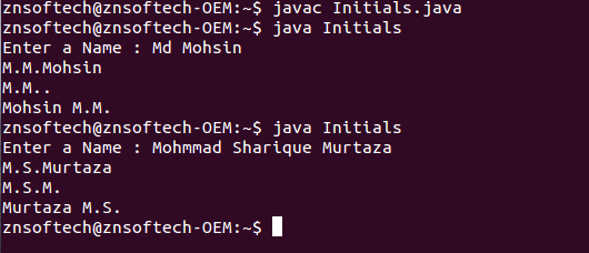 m in java