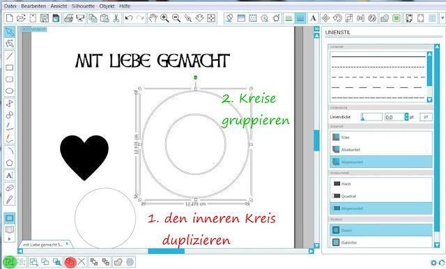 Screenshot mit dupliziertem Kreis und markierten Kreisen