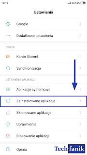 xiaomi ustawienia zainstalowane aplikacje