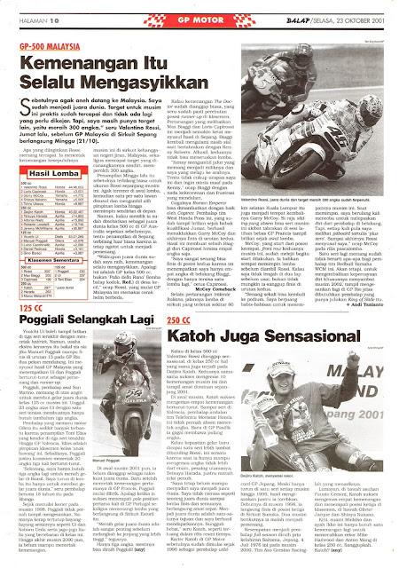 BALAP GP MOTOR GP-500 MALAYSIA 2001
