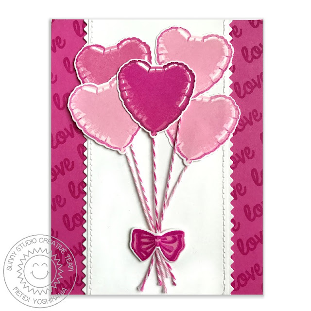 Sunny Studio Stamps: Bold Balloons Color Layering Valentine's Day Pink Love Card by Mendi Yoshikawa