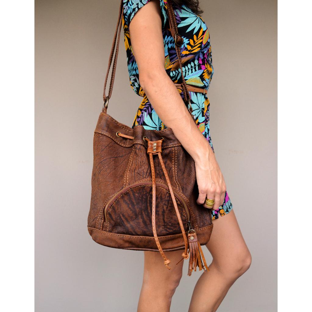 45f39c4b00cd Brown leather bucket bag