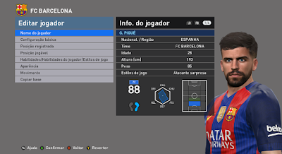 PES 2016 Gerard Piqué Face by JR Facemaker