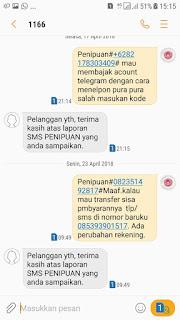 cara melaporkan sms penipuan