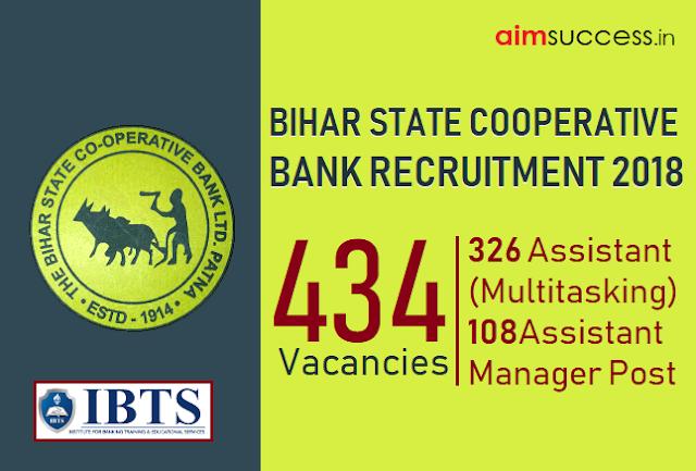 Bihar State Cooperative Bank recruitment 2018: 434 Vacancies - Apply Now