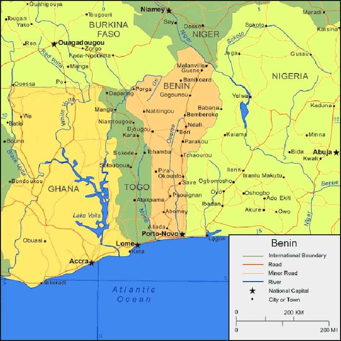 Benin on a Map Africa - Peta Dunia | Sejarah Indonesia - World Map ...