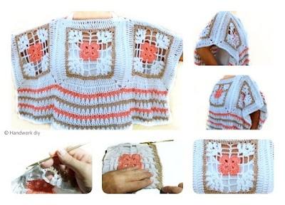 Poncho con Granny composición de labor a crochet