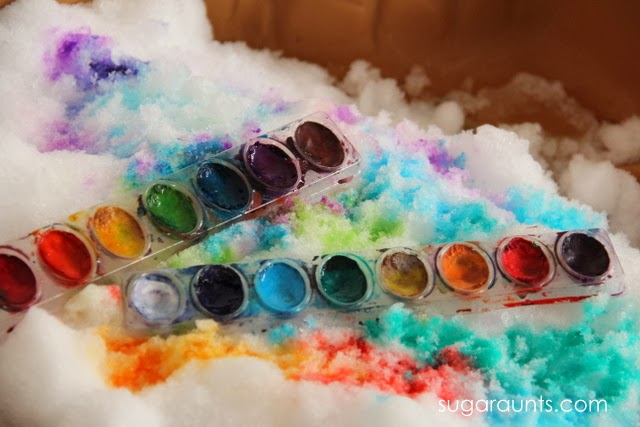 Use water colors to paint snow. This is a great indoor activity for when it's too cold to go outside.
