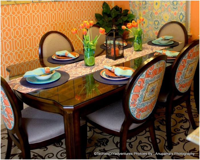 Orange and Aqua Dining Table Setting