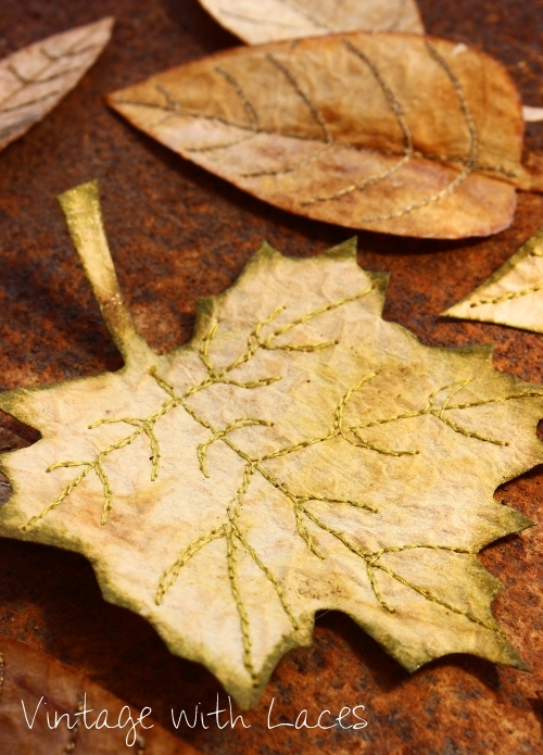 Upcycled Sewing Project: Tea Bag Fall Leaves by Vintage with Laces