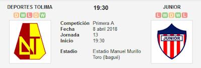 Deportes Tolima vs Junior en VIVO